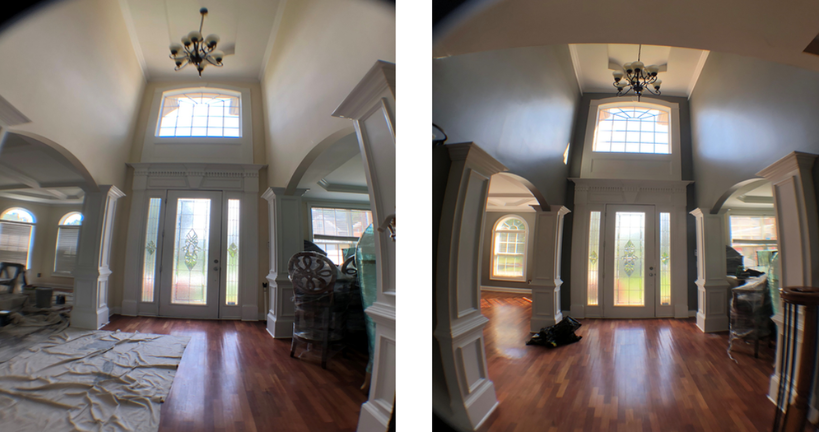 before and after of a painter painting a large foyer grey.