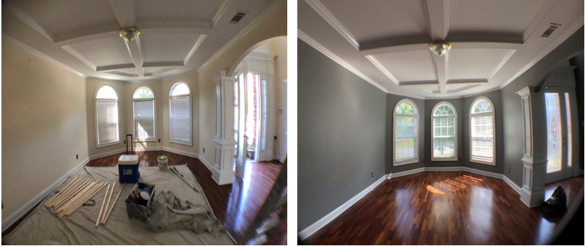 freshly painted formal dining room with large window trim and crown molding