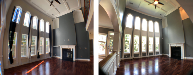 Large family room with alot of windows being painted with dark grey before and after.